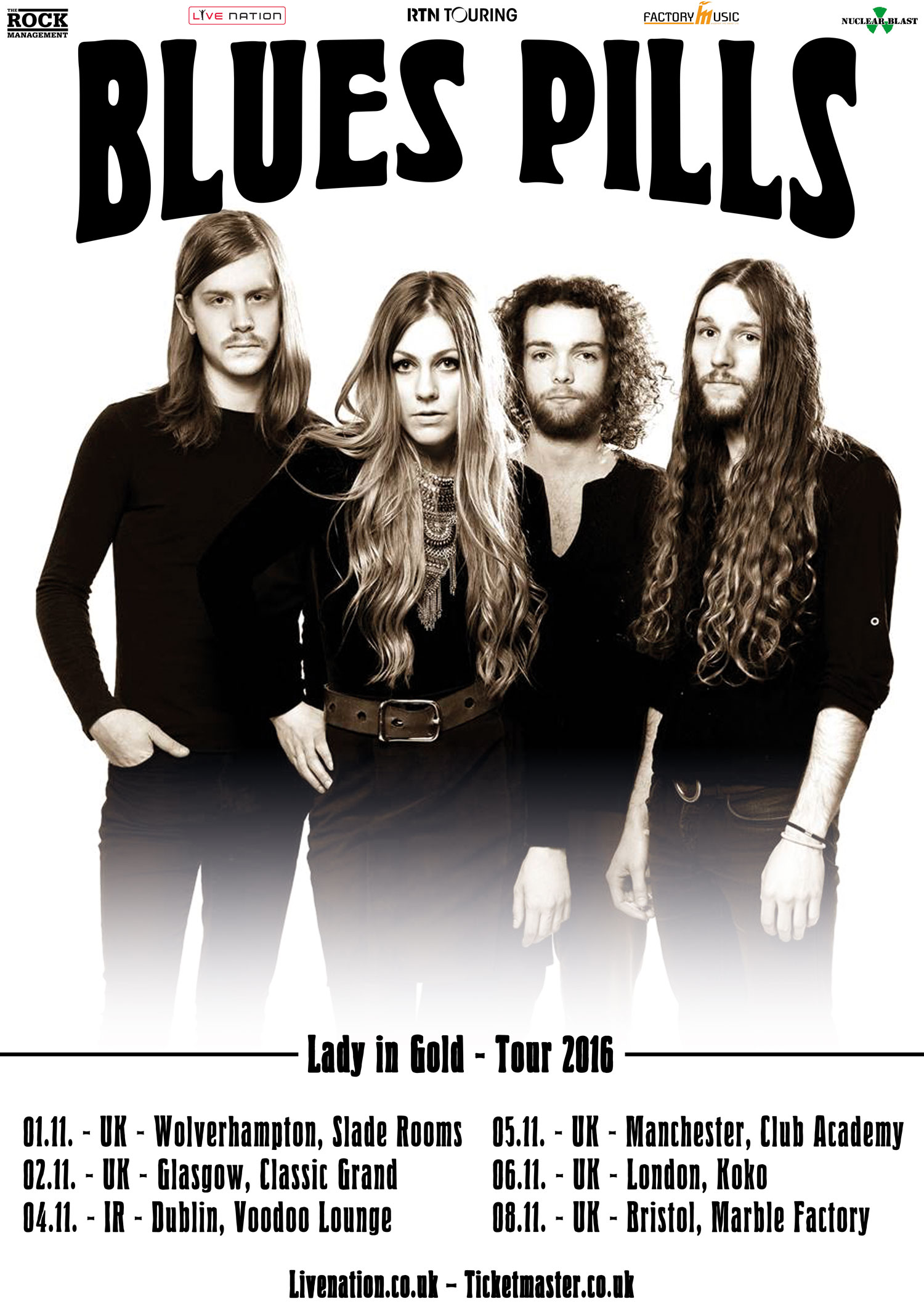 BLUES PILLS Lady in Gold Tour 2016 Poster UK Web